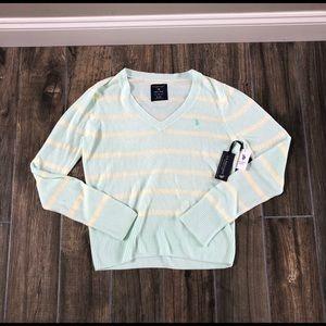 U.S. Polo Assn. Sweater womens Size XL Teal Cream